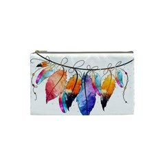 Watercolor Feathers Cosmetic Bag (Small)