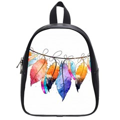 Watercolor Feathers School Bags (Small)