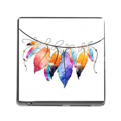 Watercolor Feathers Memory Card Reader (Square)
