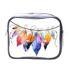 Watercolor Feathers Mini Toiletries Bags