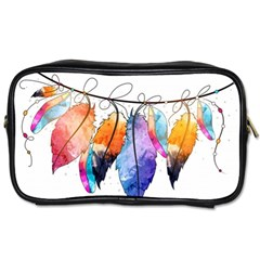 Watercolor Feathers Toiletries Bags 2-Side