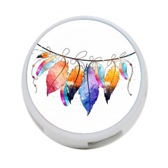 Watercolor Feathers 4-Port USB Hub (Two Sides)