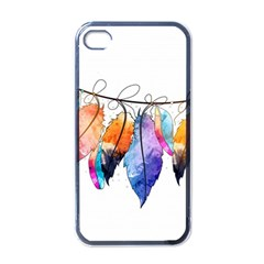 Watercolor Feathers Apple iPhone 4 Case (Black)