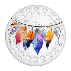 Watercolor Feathers Round Filigree Ornament (Two Sides)