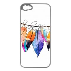 Watercolor Feathers Apple iPhone 5 Case (Silver)