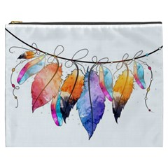 Watercolor Feathers Cosmetic Bag (XXXL)