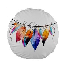 Watercolor Feathers Standard 15  Premium Flano Round Cushions