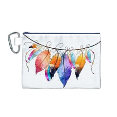 Watercolor Feathers Canvas Cosmetic Bag (M)