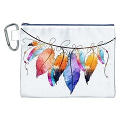 Watercolor Feathers Canvas Cosmetic Bag (XXL)