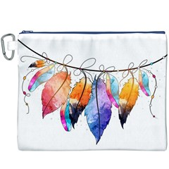Watercolor Feathers Canvas Cosmetic Bag (XXXL)