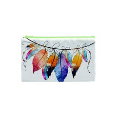Watercolor Feathers Cosmetic Bag (XS)