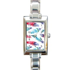 Watercolor Feather Background Rectangle Italian Charm Watch