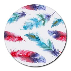 Watercolor Feather Background Round Mousepads