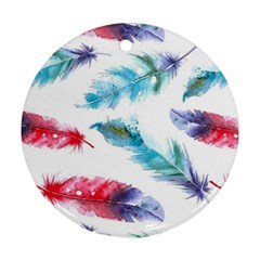 Watercolor Feather Background Ornament (Round)