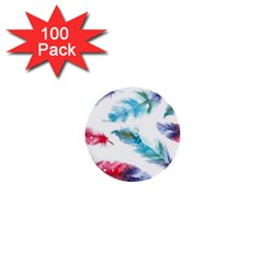 Watercolor Feather Background 1  Mini Buttons (100 pack)
