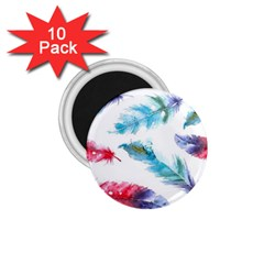 Watercolor Feather Background 1.75  Magnets (10 pack)