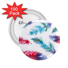 Watercolor Feather Background 2.25  Buttons (100 pack)