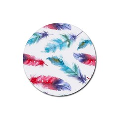 Watercolor Feather Background Rubber Round Coaster (4 pack)