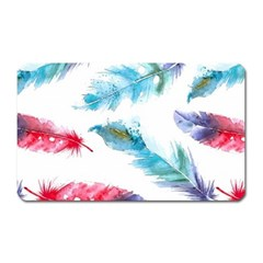 Watercolor Feather Background Magnet (Rectangular)