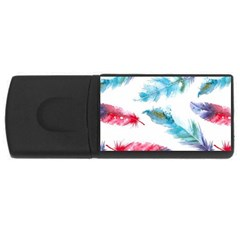 Watercolor Feather Background USB Flash Drive Rectangular (2 GB)