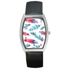 Watercolor Feather Background Barrel Style Metal Watch