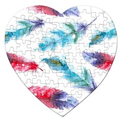 Watercolor Feather Background Jigsaw Puzzle (Heart)