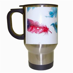 Watercolor Feather Background Travel Mugs (White)