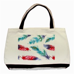 Watercolor Feather Background Basic Tote Bag