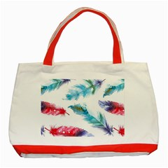 Watercolor Feather Background Classic Tote Bag (Red)