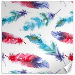Watercolor Feather Background Canvas 12  x 12
