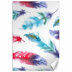 Watercolor Feather Background Canvas 24  x 36