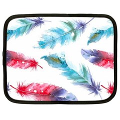 Watercolor Feather Background Netbook Case (Large)