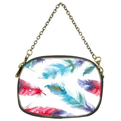 Watercolor Feather Background Chain Purses (two Sides)