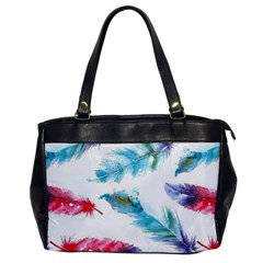 Watercolor Feather Background Office Handbags