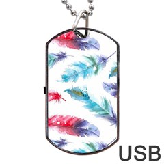 Watercolor Feather Background Dog Tag USB Flash (One Side)