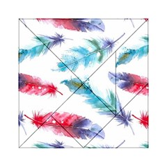 Watercolor Feather Background Acrylic Tangram Puzzle (6  x 6 )