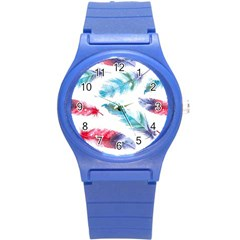 Watercolor Feather Background Round Plastic Sport Watch (S)