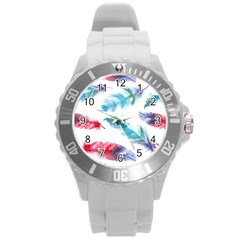 Watercolor Feather Background Round Plastic Sport Watch (L)