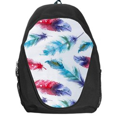 Watercolor Feather Background Backpack Bag