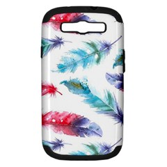 Watercolor Feather Background Samsung Galaxy S III Hardshell Case (PC+Silicone)