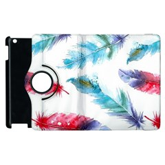 Watercolor Feather Background Apple iPad 2 Flip 360 Case