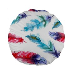 Watercolor Feather Background Standard 15  Premium Round Cushions