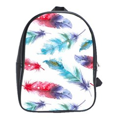 Watercolor Feather Background School Bags (XL)