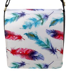 Watercolor Feather Background Flap Messenger Bag (S)