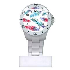 Watercolor Feather Background Plastic Nurses Watch