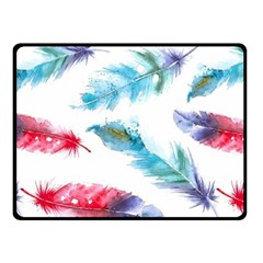 Watercolor Feather Background Double Sided Fleece Blanket (Small)