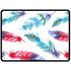 Watercolor Feather Background Double Sided Fleece Blanket (Large)