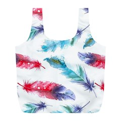 Watercolor Feather Background Full Print Recycle Bags (L)