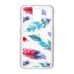 Watercolor Feather Background Samsung Galaxy S5 Case (White)