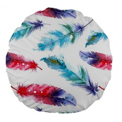 Watercolor Feather Background Large 18  Premium Flano Round Cushions